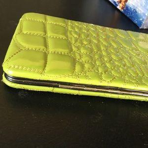 kristine Bags - KRISTINE lime green snap hard wallet